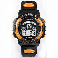 Часы электронные детские с секундомером, будильником и неоновой подсветкой Sport Orange (∅35 мм)