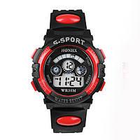 Часы электронные детские с секундомером, будильником и неоновой подсветкой Sport Red (∅35 мм)