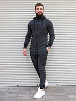 Серый спортивный костюм мужской трехнитка, утеплённый мужской спортивный костюм весна осень зима
