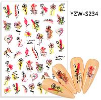Слайдер, наклейка для дизайна ногтей YZW-S234 цветы