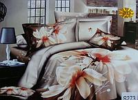 Сатиновое постельное белье евро 3D Люкс Elway S273