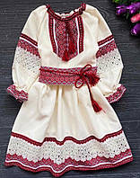 Нарядне плаття для дівчинки з вишивкою та мереживом бежевого кольору з червоною вишивкою, фото 1