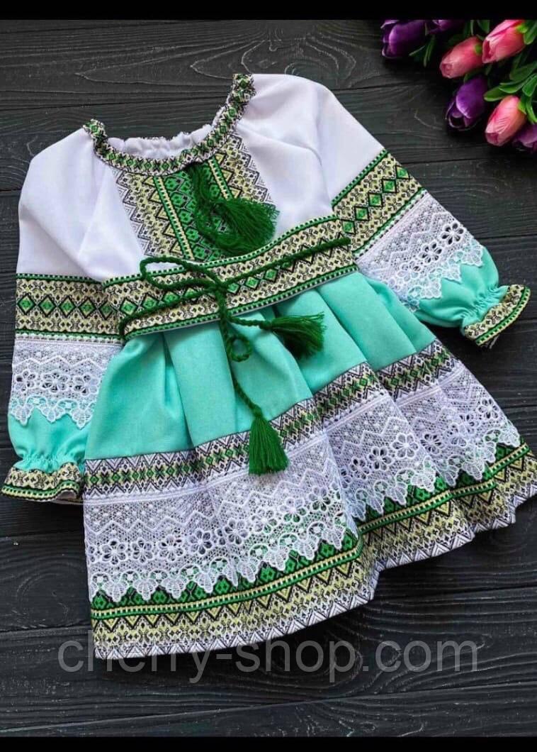 Нарядное платье для девочки с вышивкой и кружевом , 1-12 лет