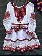 Нарядное белое платье для девочки с вышивкой красного цвета , 1-12 лет, фото 1