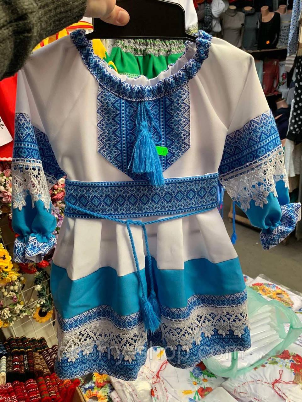 Нарядное белое платье для девочки с вышивкой  , 1-12 лет