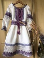Нарядное платье для девочки с вышивкой и кружевом бежевого цвета с фиолетовой вышивкой, фото 1