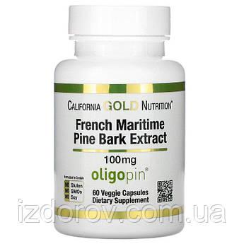 California Gold Nutrition, Oligopin, Экстракт коры французской приморской сосны 100 мг, 60 растительных капсул