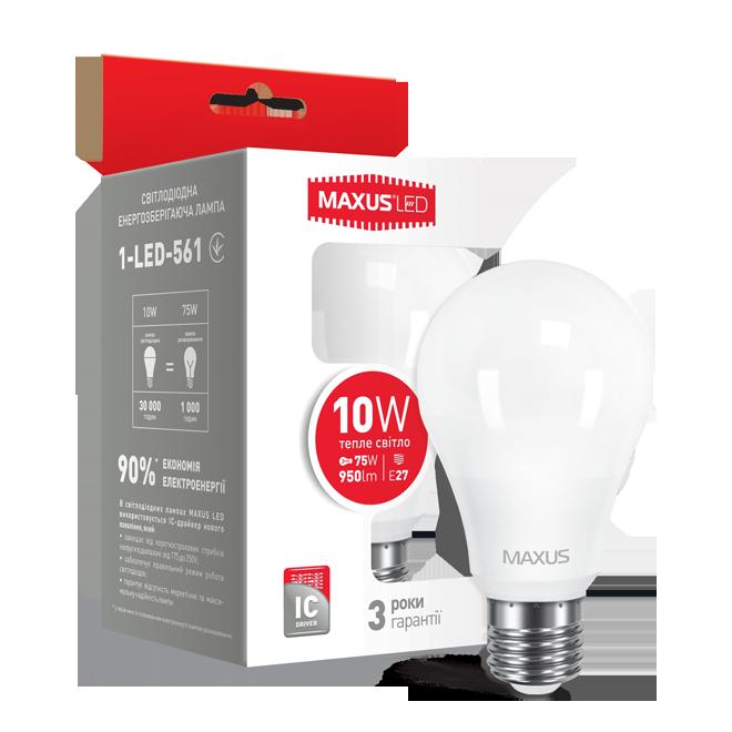 Лампа MAXUS A60 10W 3000K 220V E27 Теплый свет