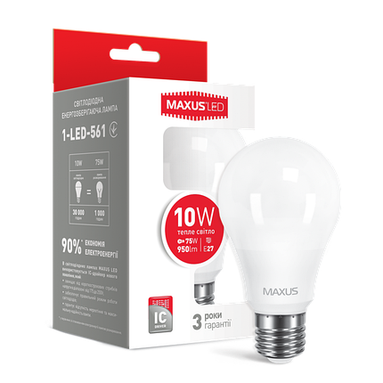 Лампа MAXUS A60 10W 3000K 220V E27 Теплый свет, фото 2