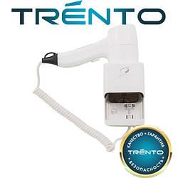 Настенный фен Trento 1200W с держателем и розеткой под бритву белый/хром