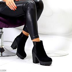 Люксовые черные замшевые женские ботинки ботильоны на удобном каблуке