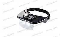 Лупа бинокулярная, специальный наголовник 60202,+4 линзы+встроенный фонарь, ювелирные очки, кратность до 3,5х