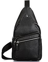 Мужской кожаный черный слинг на плечо Tiding Bag A25F-5605A