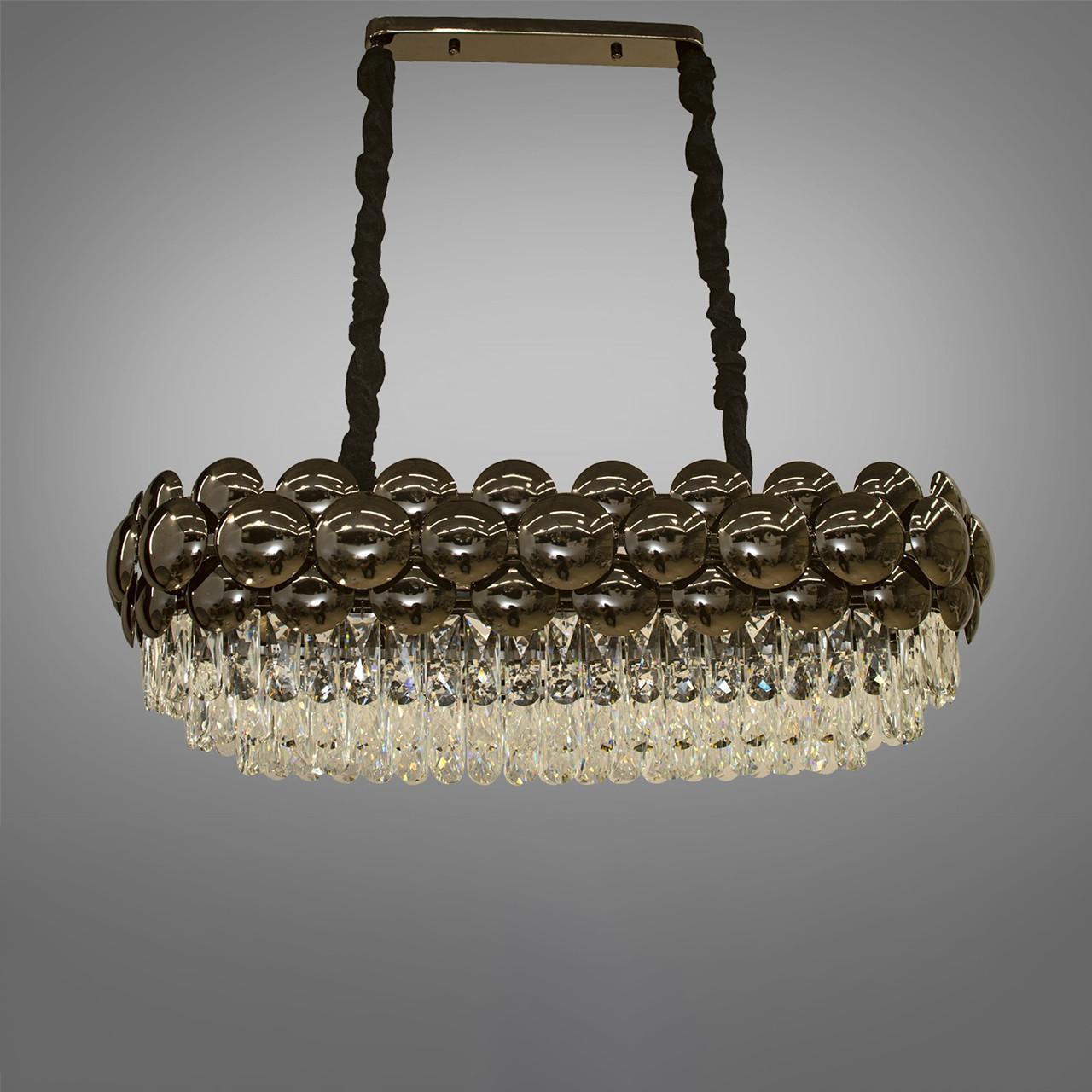 Овальна кришталева люстра на ланцюгу в стилі Арт-Деко каркас хром 85*85 см на 10 ламп Е14 D-QS7719/800x350BHR