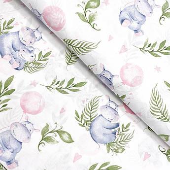 """Польская хлопковая ткань """"Бегемотики в зеленых листьях с розовыми воздушным шаром"""""""