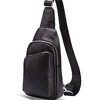 Чоловічий шкіряний рюкзак на одне плече Tiding чорна, фото 1