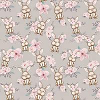 Бязь Кролики в цветах
