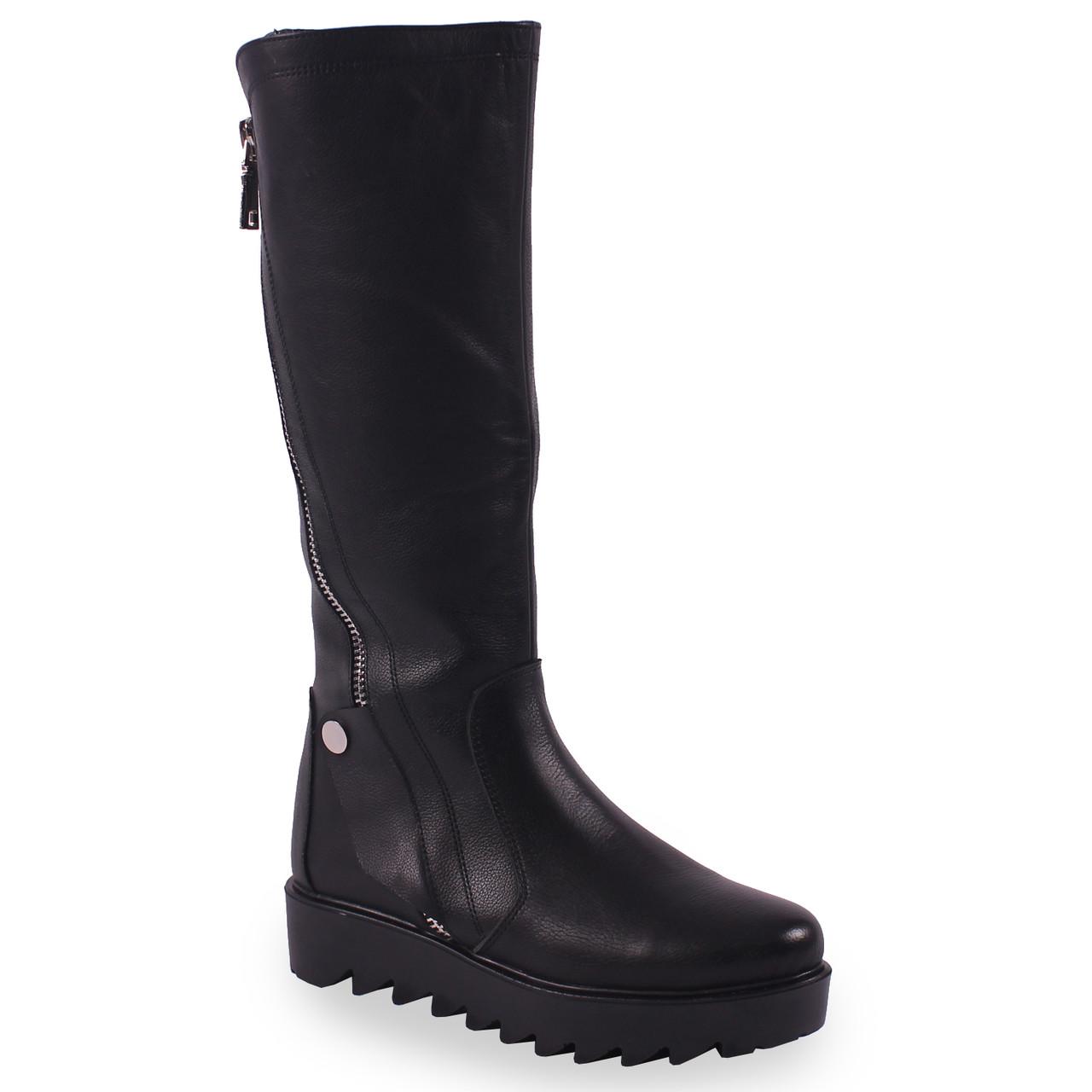 42e70b78 Женские сапоги El Passo (кожаные, зимние, черные, на каблуке, есть замок,  на платформе)