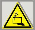 Предупреждающий знак  «Осторожно. Аккумуляторные батареи».