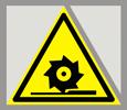 Предупреждающий знак  «Осторожно. Режущие валы».