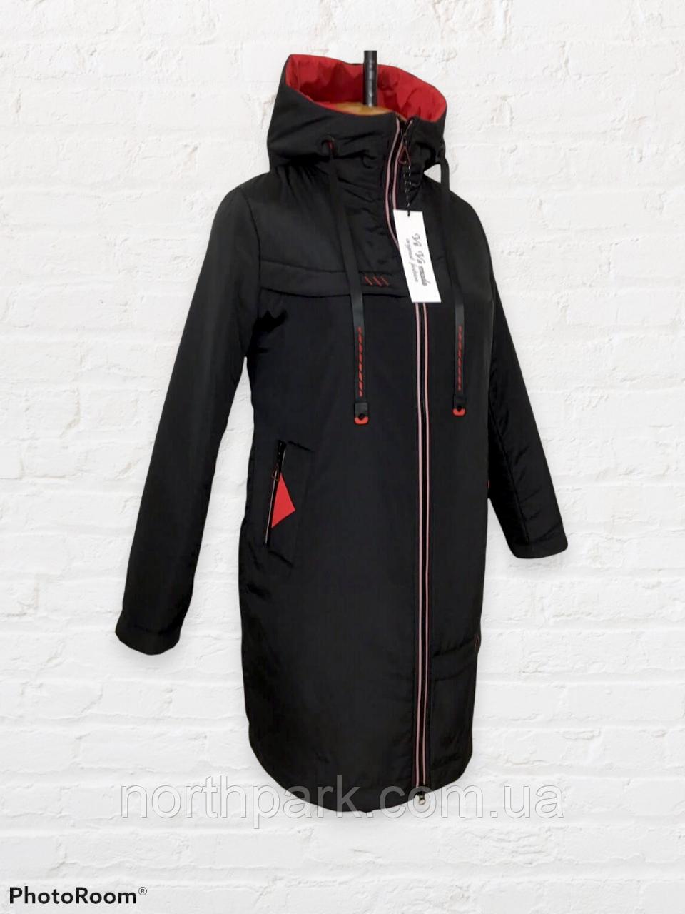 """Жіноча тепла куртка-парку великих розмірів """"Астра"""", чорна"""