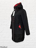 """Жіноча тепла куртка-парку великих розмірів """"Астра"""", чорна, фото 3"""