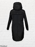 """Жіноча тепла куртка-парку великих розмірів """"Астра"""", чорна, фото 6"""