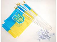 Флажок настольный на присоске. Флаг Украины сувенирный (упаковка 12 шт.) алRR5