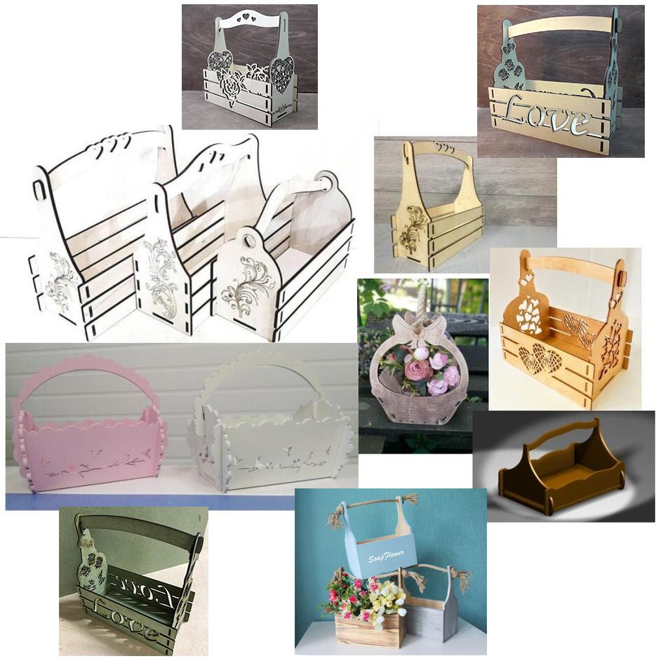 Виготовлення дерев'яних ящиків і кошиків для кольорів на замовлення. Кошики для букетів і подарункових наборів.
