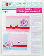 """Набор для создания открытки """"Цветы розово-голубые"""", 4шт/уп., 12*17см"""
