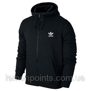 Теплая мужская толстовка с капюшоном, худи, кенгурушка черная (ФЛИС) на змейке Adidas E231