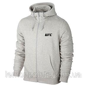 Теплая мужская толстовка с капюшоном, худи, кенгурушка серая (ФЛИС) на змейке UFC E269