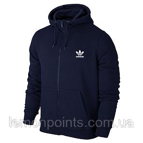 Теплая мужская толстовка, худи, кенгурушка на змейке Adidas E273 синяя (ФЛИС)