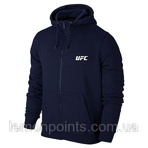 Теплая мужская толстовка, худи, кенгурушка на змейке UFC E291 синяя (ФЛИС)
