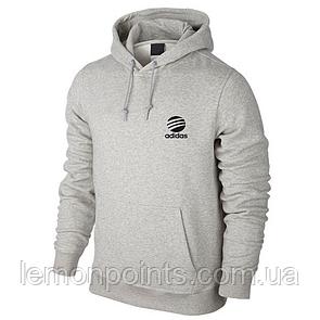 Теплая мужская толстовка, худи, кенгурушка Adidas E294