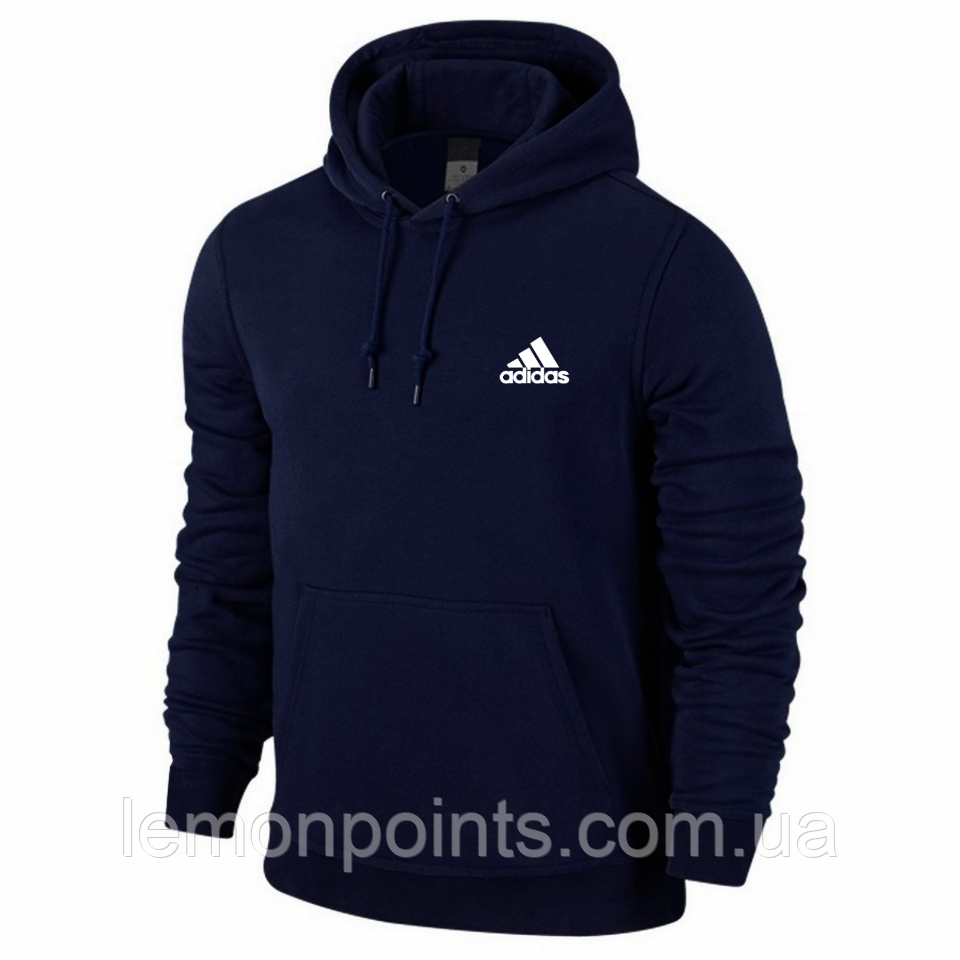 Теплая мужская толстовка, худи, кенгурушка Adidas E313 синяя ФЛИС (до -25 °С)