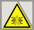 Предупреждающий знак «Осторожно. Опасность зажима».