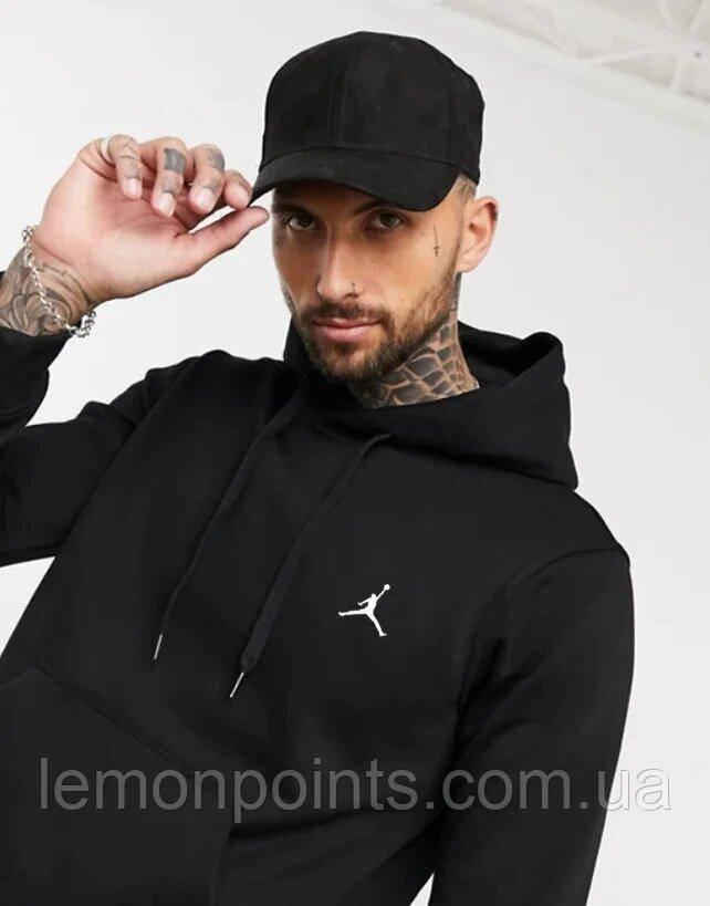Теплая мужская спортивная толстовка, худи, кенгурушка Jordan (Джордан) черная ФЛИС (до -25 °С)