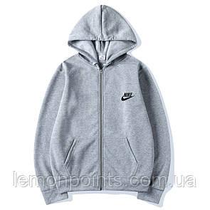 Теплая мужская толстовка, худи, кофта на молнии Nike серая (ФЛИС)