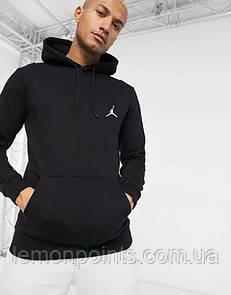 Теплая мужская спортивная толстовка, худи, кенгурушка Jordan (Джордан) черная (ФЛИС)
