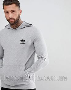 Теплая мужская толстовка с капюшоном, худи, кенгурушка Adidas (Адидас) серая (ФЛИС)