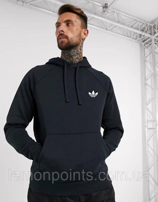Теплая мужская толстовка с капюшоном, худи, кенгурушка Adidas (Адидас) черная ФЛИС (до -25 °С)