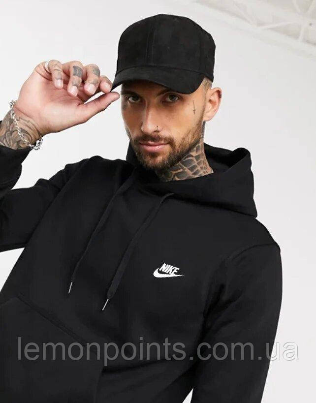 Теплая мужская спортивная толстовка, худи, кенгурушка Nike (Найк) черная (ФЛИС)