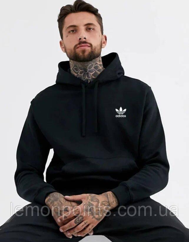 Чоловіча Тепла толстовка з капюшоном, худі, кенгурушка ФЛИС (до -25 °С) Adidas (Адідас) чорний