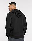 Теплая мужская спортивная толстовка, худи, кенгурушка Nike (Найк) черная (ФЛИС), фото 2