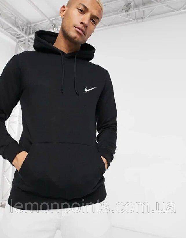 Теплая мужская спортивная толстовка, худи, кенгурушка Nike (Найк) черная ФЛИС (до -25 °С)