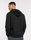 Теплая мужская толстовка с капюшоном, худи, кенгурушка Adidas (Адидас) черная (ФЛИС), фото 2