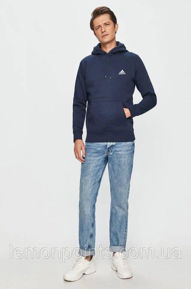 Теплая мужская толстовка с капюшоном, худи, кенгурушка Adidas (Адидас) синяя (ФЛИС)