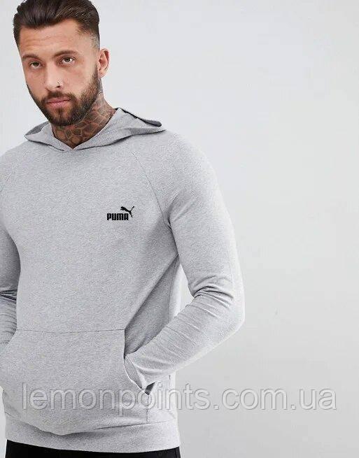 Теплая мужская спортивная толстовка, худи, кенгурушка Puma (Пума) серая ФЛИС (до -25 °С)