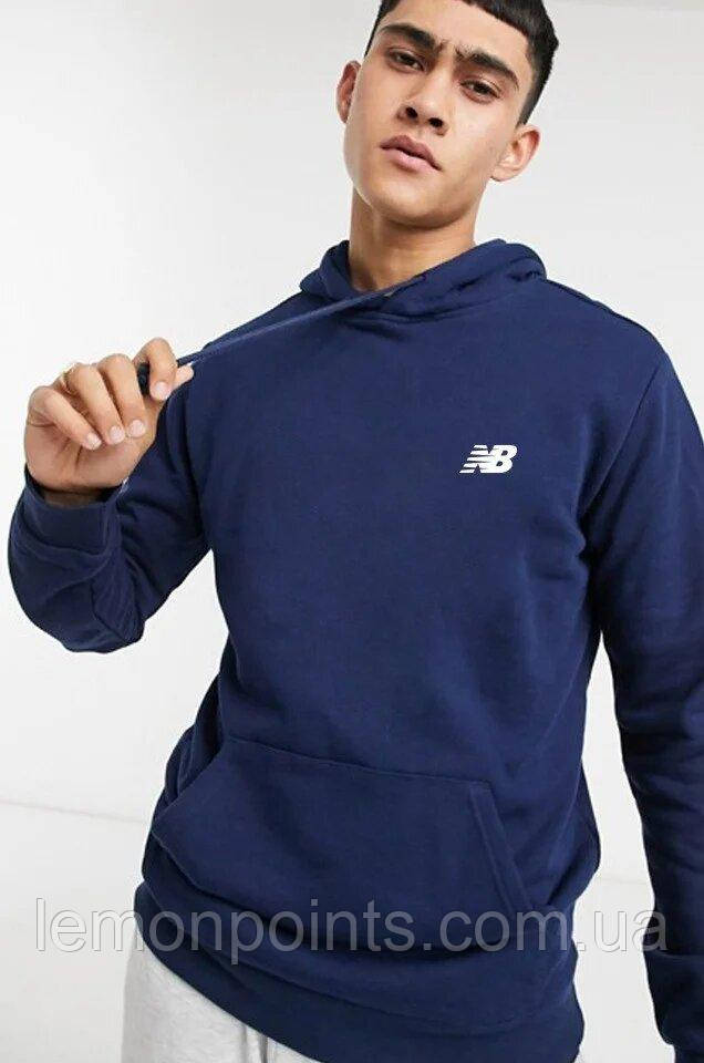 Теплая мужская спортивная толстовка, худи, кенгурушка New Balance (Нью Беленс) синяя (ФЛИС)